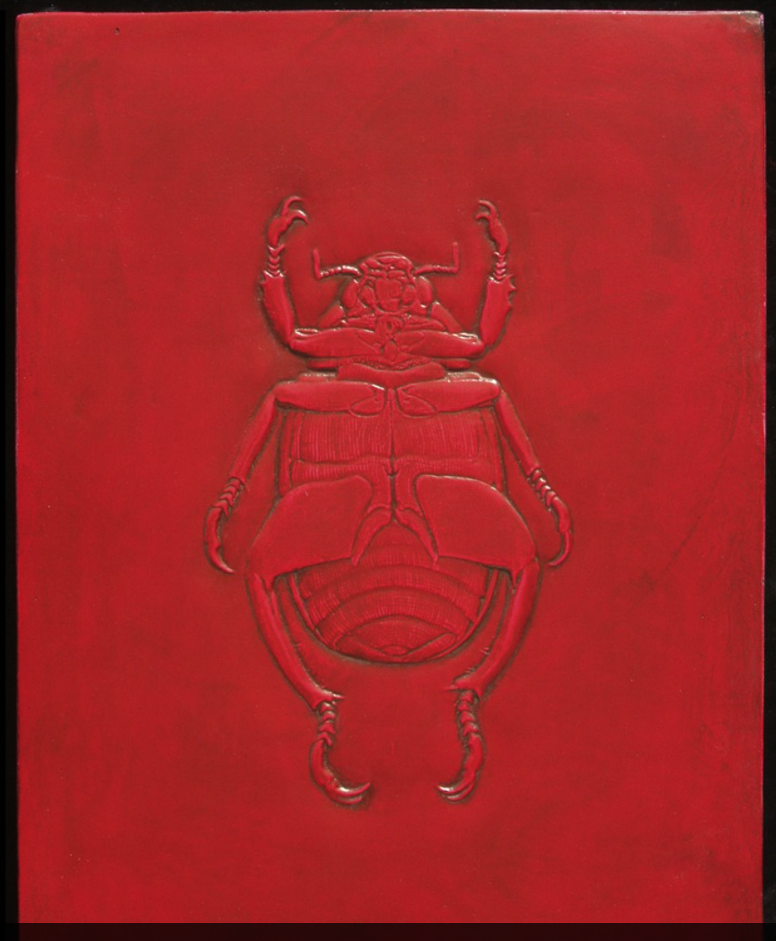 Scarab . This is a low relief panel from a series of insect studies created for a private collection. It can be cast in a wide variety of materials such as bronze, plasters, resins, cement and epoxies. MATERIALS: Variable DIMENSIONS: 1 Ft. W X 1.3 H X .5 In. DEEP
