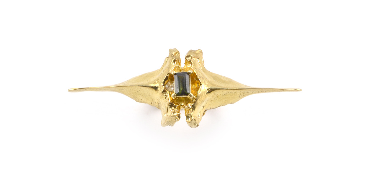 18K Gold  Bast Double Spine Ring  with Tourmaline