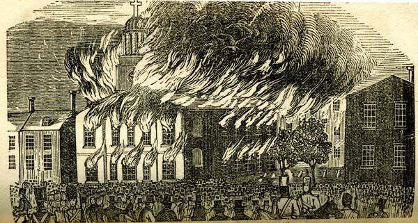 The destruction of Philadelphia's Church of St. Augustine in the 1844 Nativist Riots.Photo: PD-1923 public domain