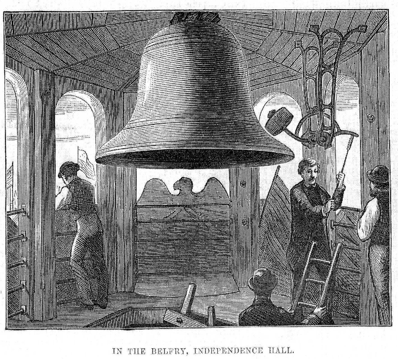 The Centennial Bell which replaced the Liberty Bell after it cracked.June 17, 1876.The Illustrated London News Photo:  PD-1923 public domain