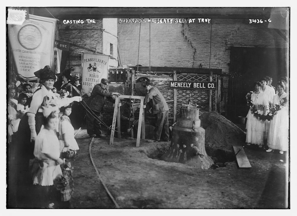 """Casting the Suffrage """"Liberty Bell"""" which became known as """"The Justice Bell"""" in Troy, NY at the Meneely Bell Co. [between ca.1910 and ca. 1915]"""