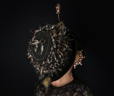 Object of Mourning Veil #4, copper, bronze, silver, velvet, ribbon, beads, 2015