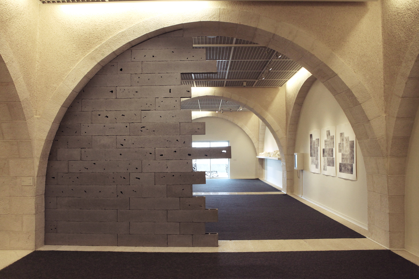 """Brick Wall #3"" on display at Mormon University, Jerusalem.Photo by Doron Kuperman, courtesy of the artist."
