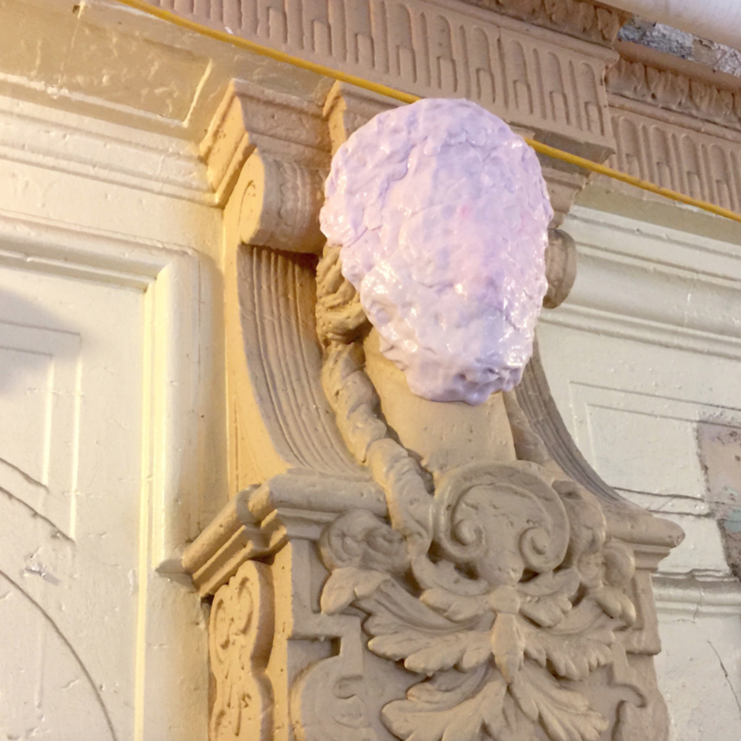 Leslie Fry made rubber molds of the ornamentation on the pilasters that framed the niches as a place to start with her pieces. Photo courtesy of the artist.