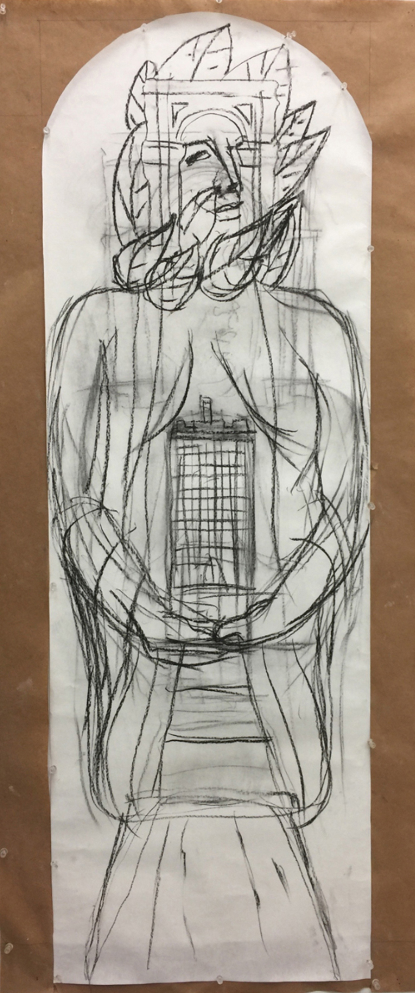 Actual scale sketch for the piece based on the George Washington Hotel building. Photo courtesy of the artist.