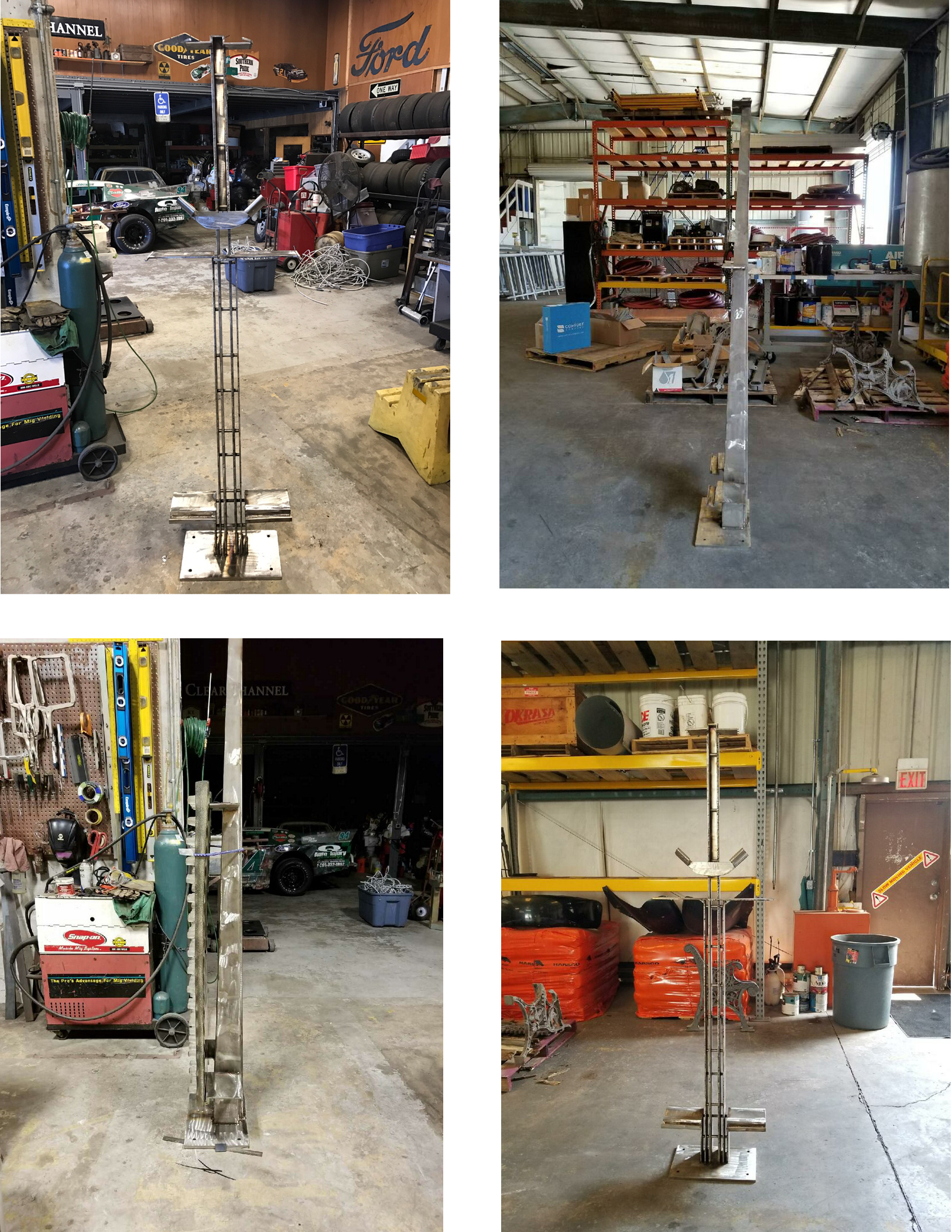 Steel stand fabrication and fitting the glass panels