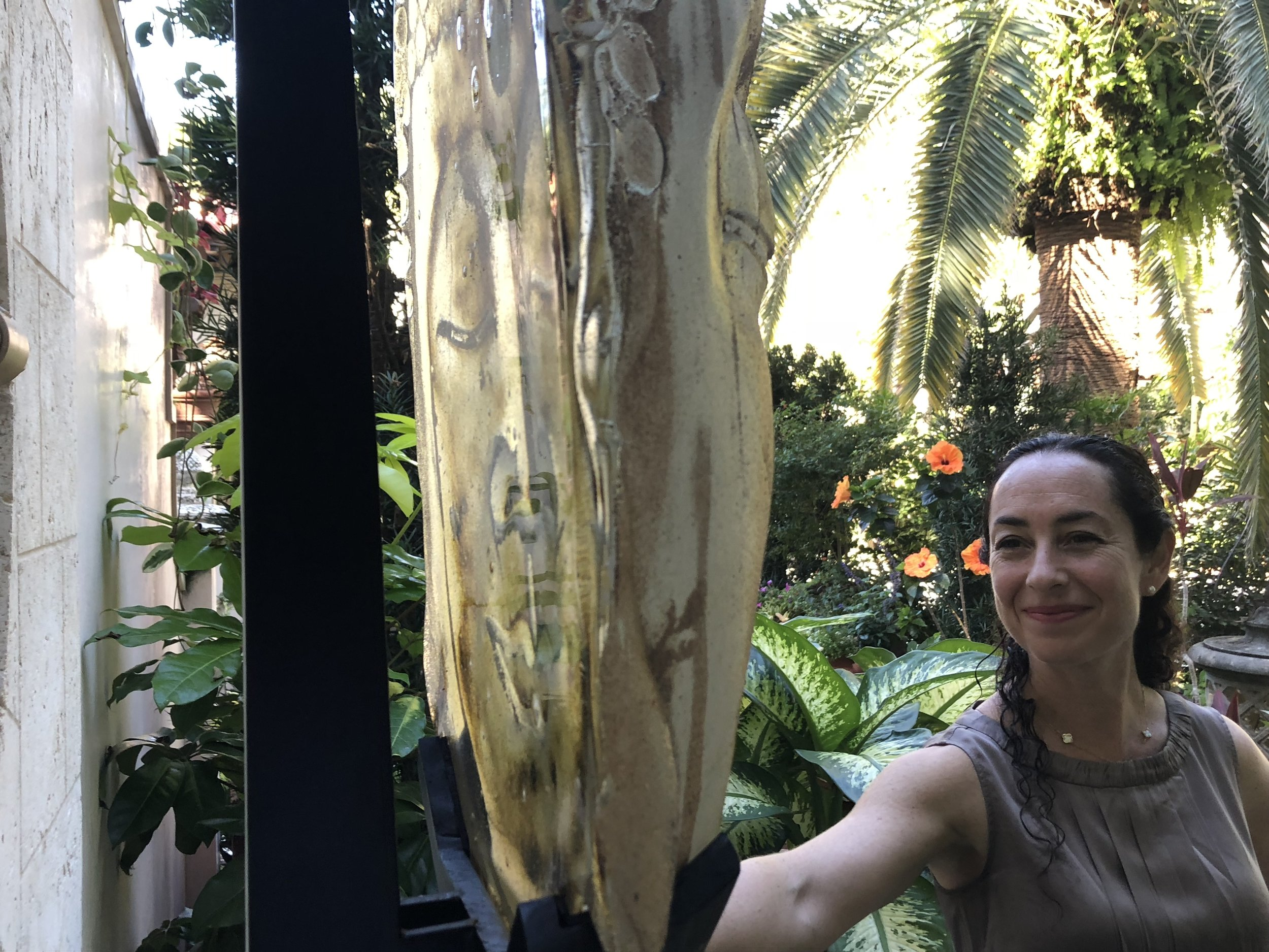 Marlene inspects  Fountain Buddha .