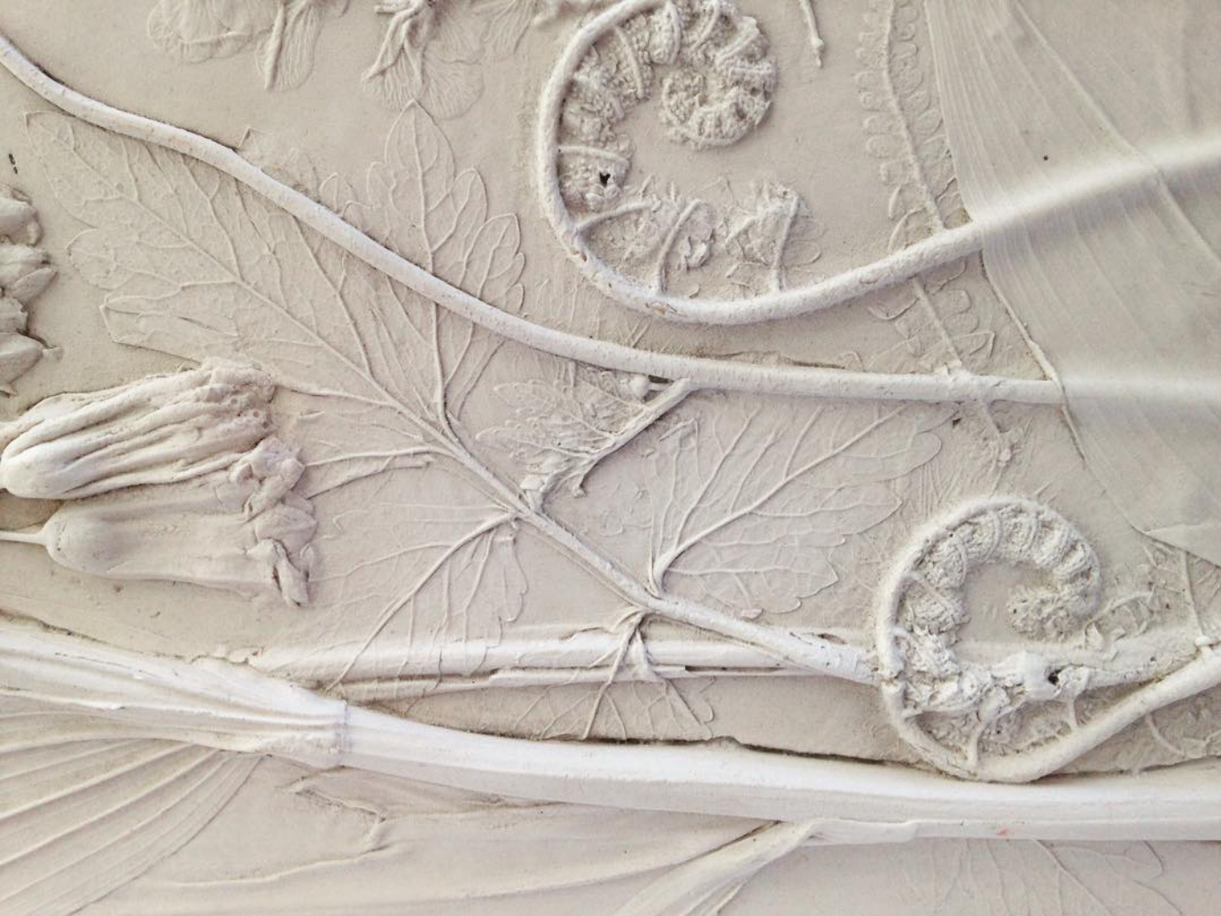 Ferns and Solomon's Seal, plaster panel. Photo courtesy of the artist.