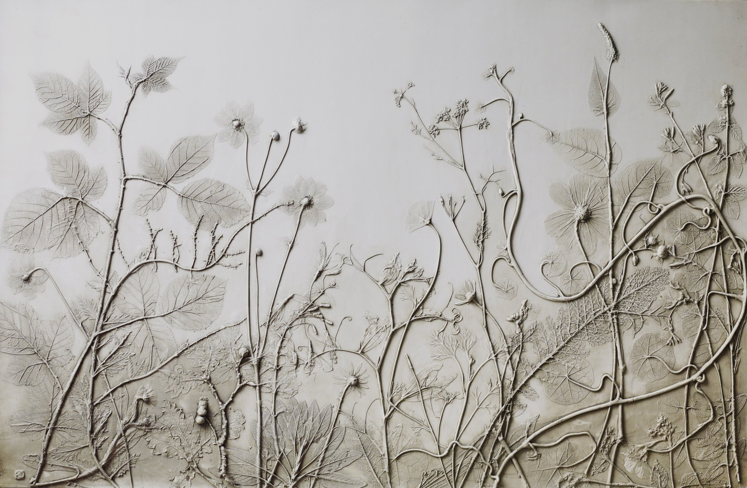 """Finished plaster panel, 39.4"""" x 25.6"""" x 0.6"""". Photo courtesy of the artist."""