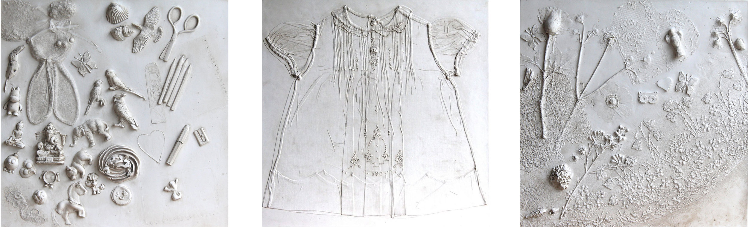 A group of commissioned panels: on the right and left, two panels from a family portrait including objects dear to family members; in the middle, a dress from the 1930s with sentimental value to the client.