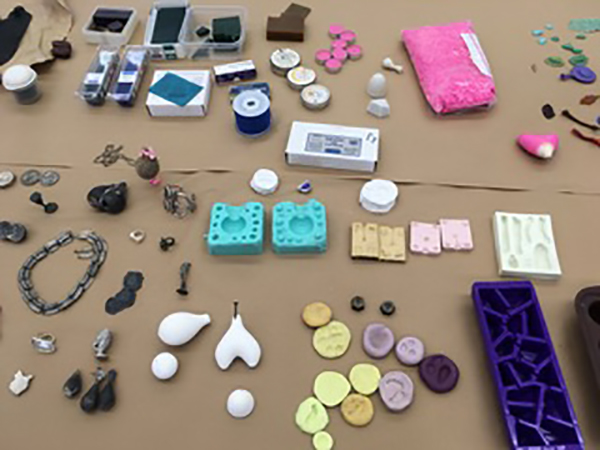 Molds and samples. Photo courtesy of Mary Hallam Pearse.