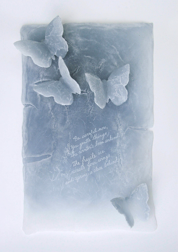"""Donna Rice,  Fragility , 2018. Glass, lost wax, kiln-cast pate de verre, hand engraved. 17"""" x 10.75"""" x 3.5"""" Photo: Donna Rice"""
