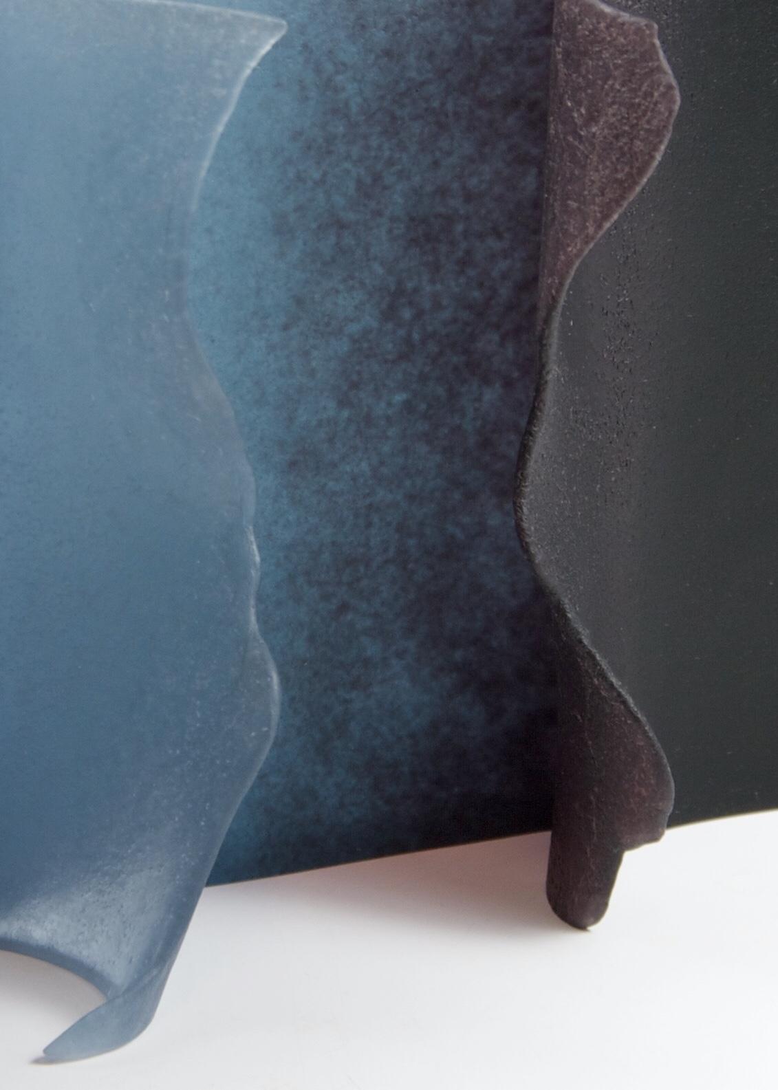 Donna Rice,  Violet Tear , 2018. Glass, lost wax, kiln-cast pate de verre,8.25″ x 5.5″ x 1″. Photo: Donna Rice