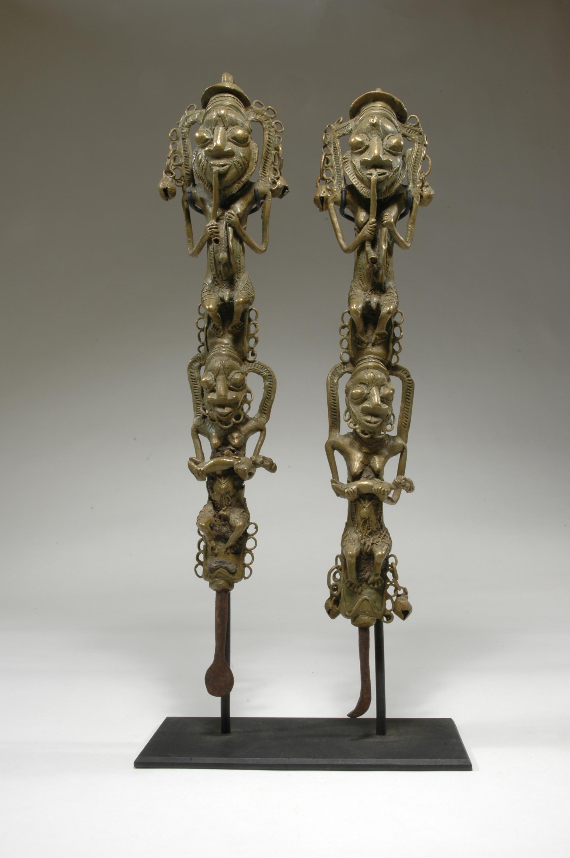 Artist unknown (Yorùbápeoples, Nigeria), figurated staffs for Ògbóni society ( ẹdan Ògbóni),19th century, iron, copper alloy (cast).Charles and Kent Davis