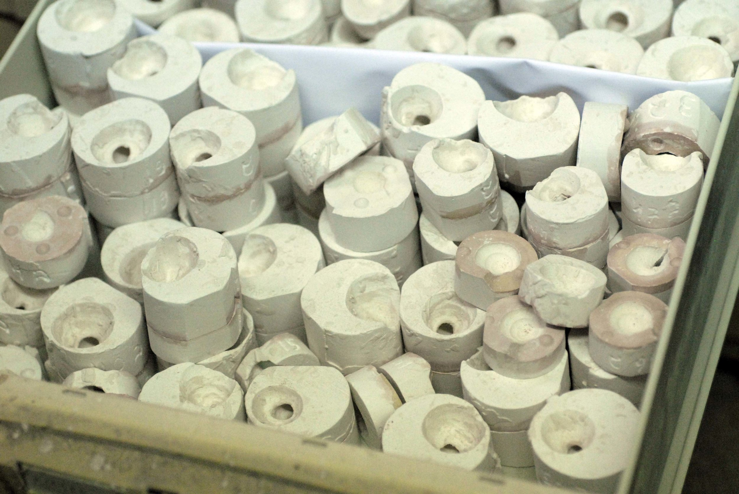 One of several drawers filled with plaster molds for Fenichel's porcelain snails. Photo: Katia Rabey