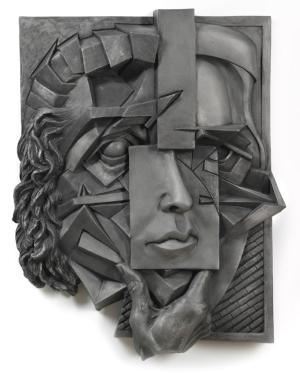 "Suzanne Horwitz,  Façade , 2011. Cast aluminum bas relief, 26"" x 21"" x 3"". Photo: Tom Van Endye."