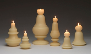 """Niho Kozuru,  NIHO Candles , 2018. 100% pure beeswax, cotton wicks, hand poured, cast in molds, 5"""" x 3.5"""" x 3.5"""" to 12.5"""" x 6"""" x 6"""". Photo: Stewart Clements."""
