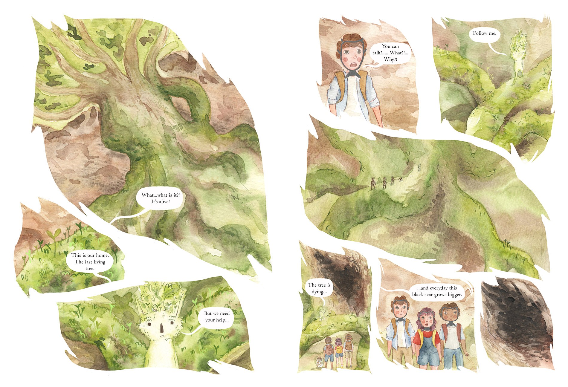 Double page spread from Roots, a children's graphic novel.