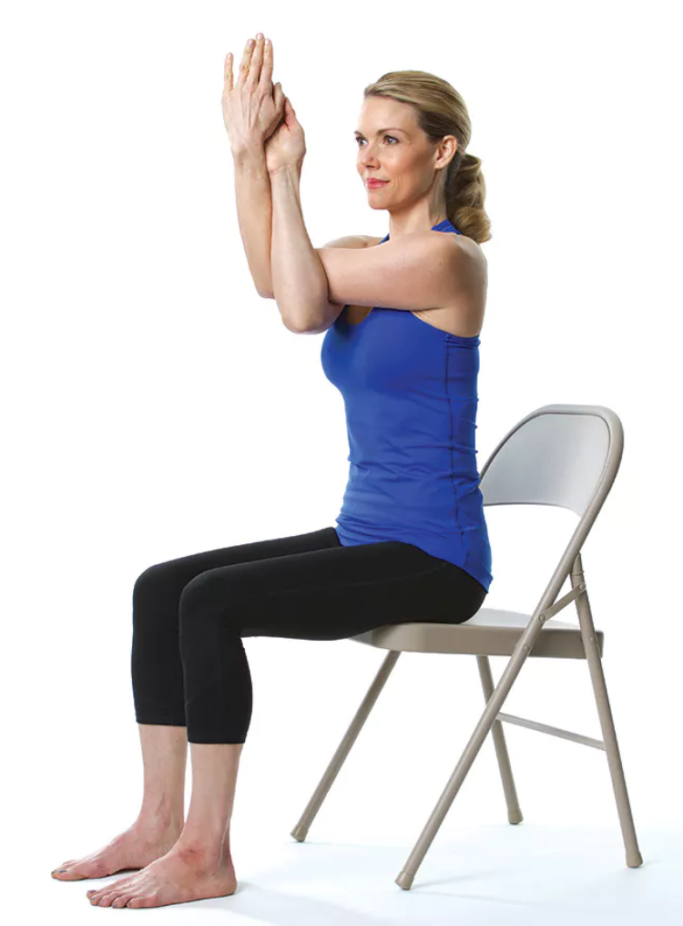1. Stretch your arms out to each side.  2. Next, bring one arm under the other in front of you at shoulder height. While bending your arms at the elbows, twist your arms so your palms meet each other.  3. Hold for 5-10 breaths, then unwind and repeat with the opposite arm on top.