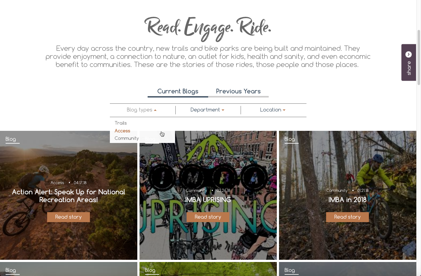 Grids with filters for Blogs, Press Releases and Events