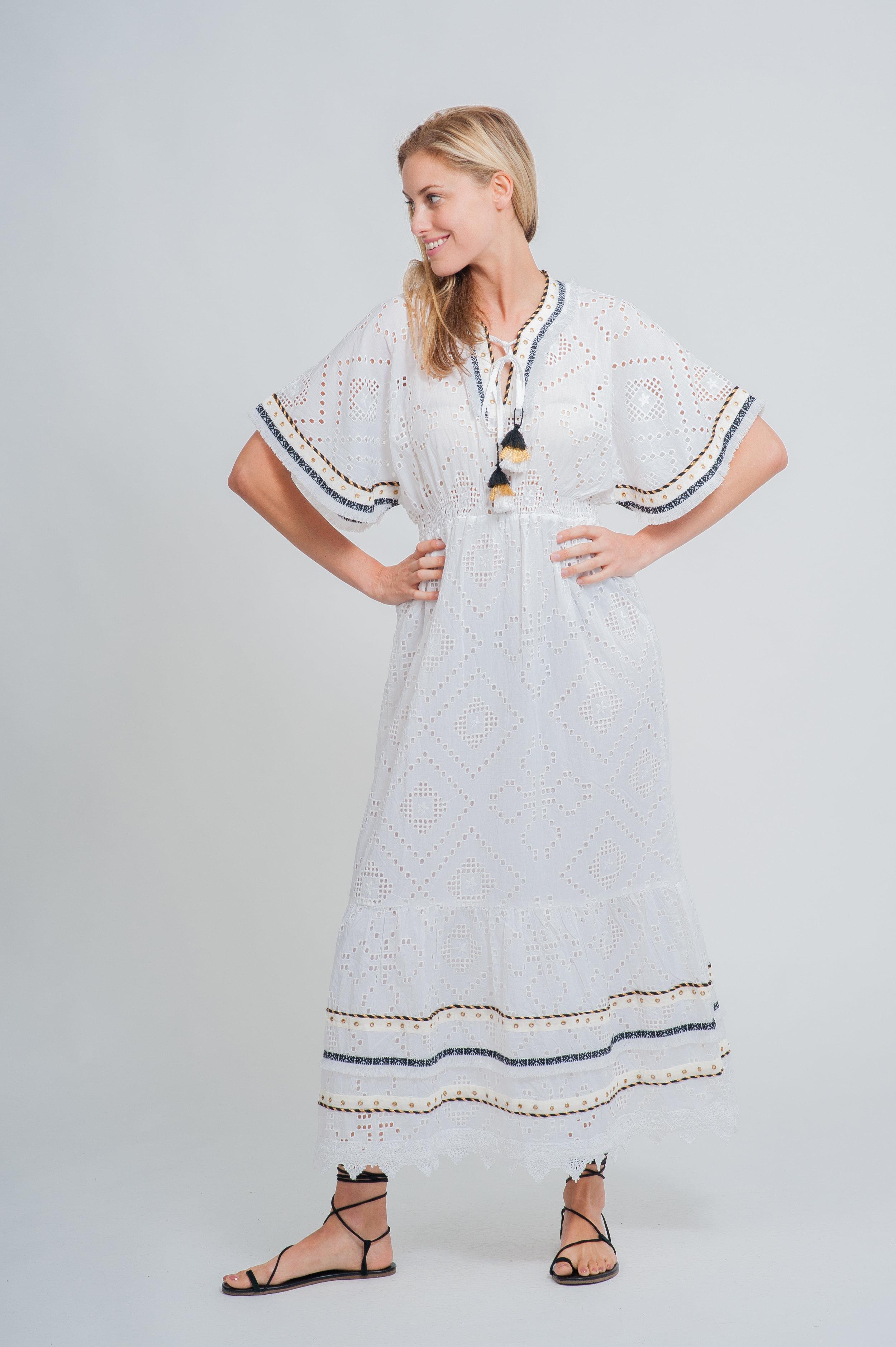 SS19-31 LA MANDALA CUTWORK LACE MAXI KAFTAN DRESS