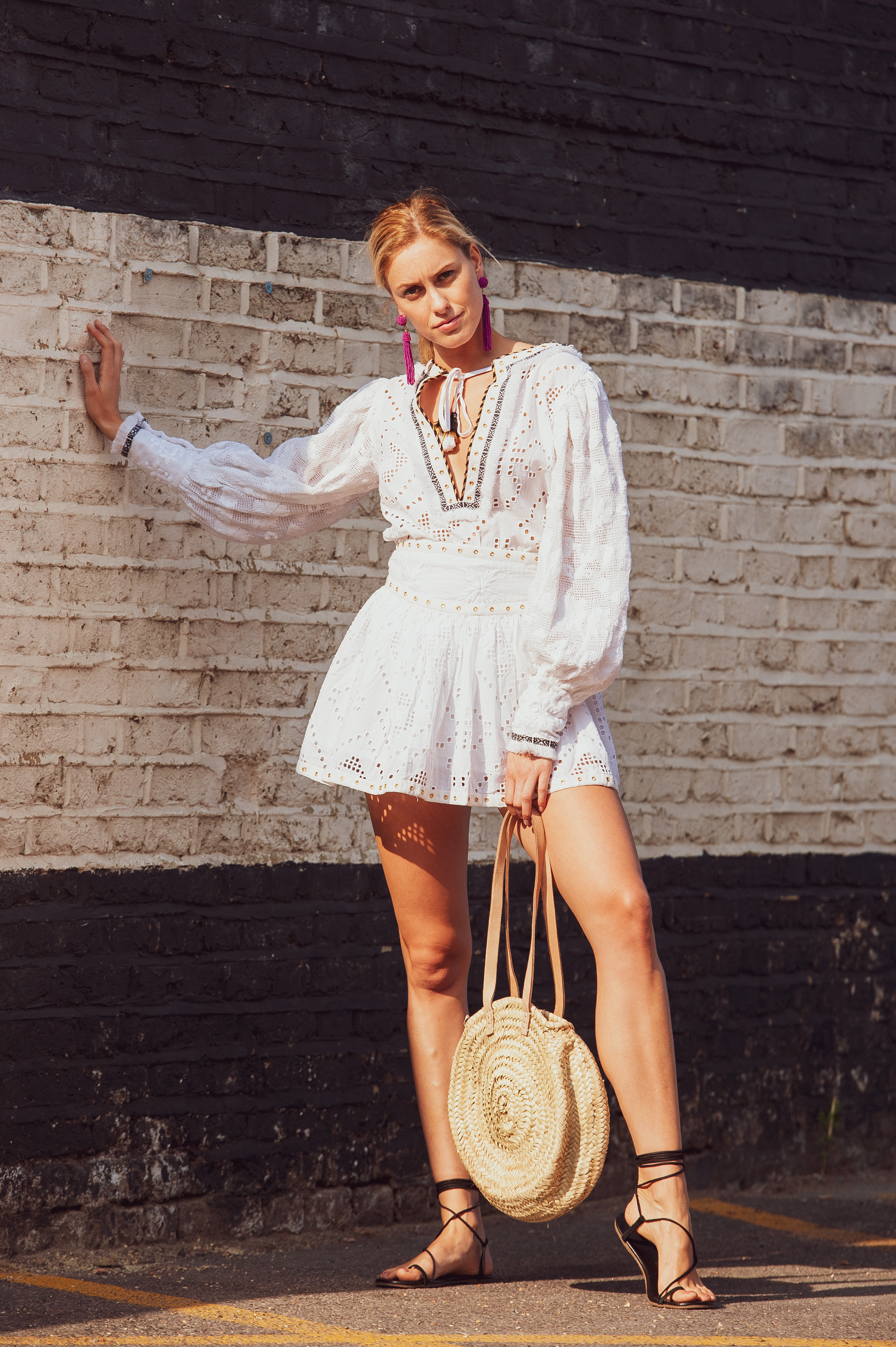 SS19-15a LE CAPELAN CUTWORK LACE BALLOON SLEEVE BLOUSE (Filet Lace Sleeves) worn with  SS19-17 LE PORTISSOL CUTWORK LACE MINI SKIRT