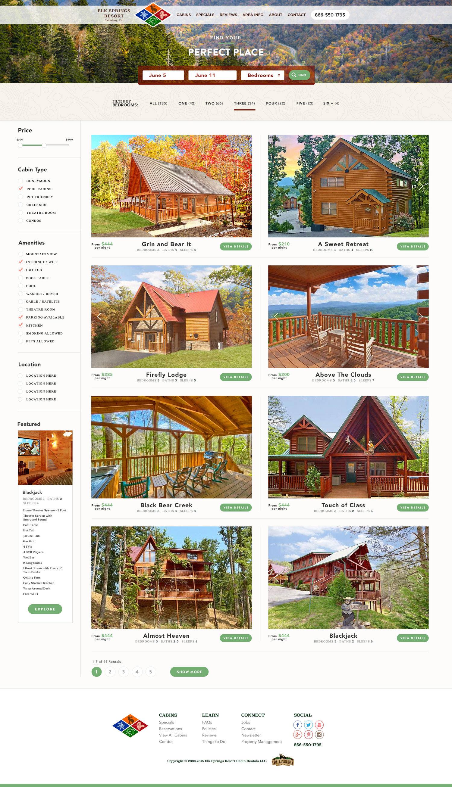 Web Design | Elk Springs Resort - Perfect Place Full Page