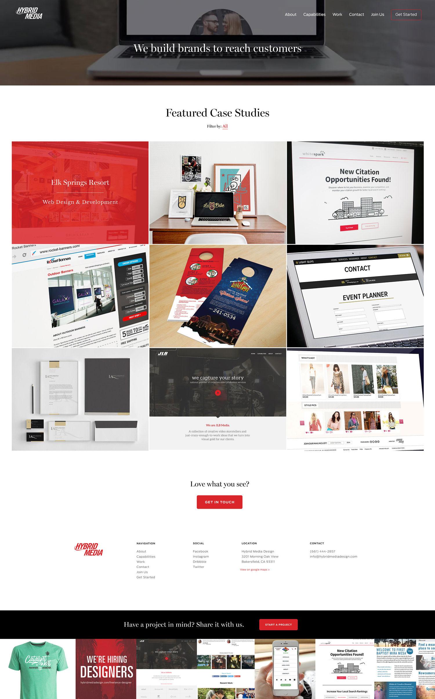 Web Design | Hybrid Media - Work (Desktop View)