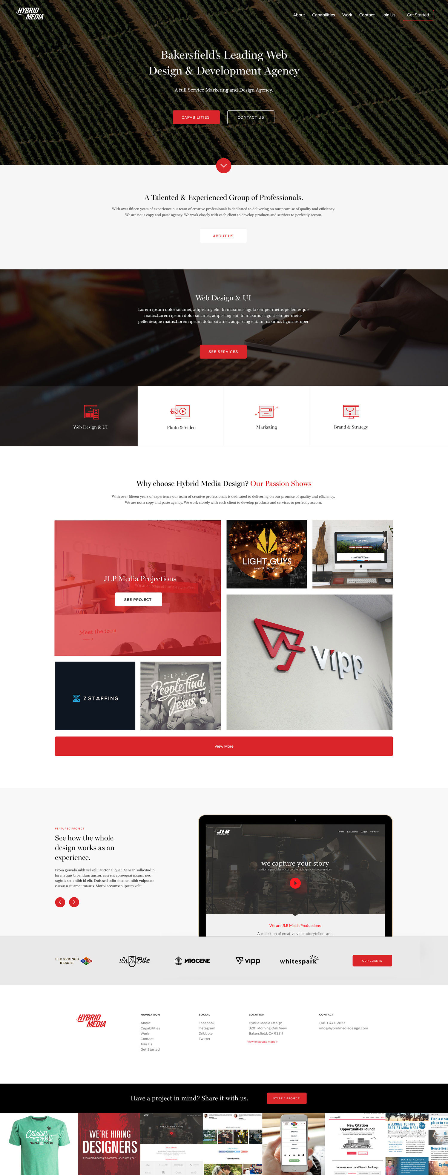Web Design | Hybrid Media - Homepage  (Desktop View)