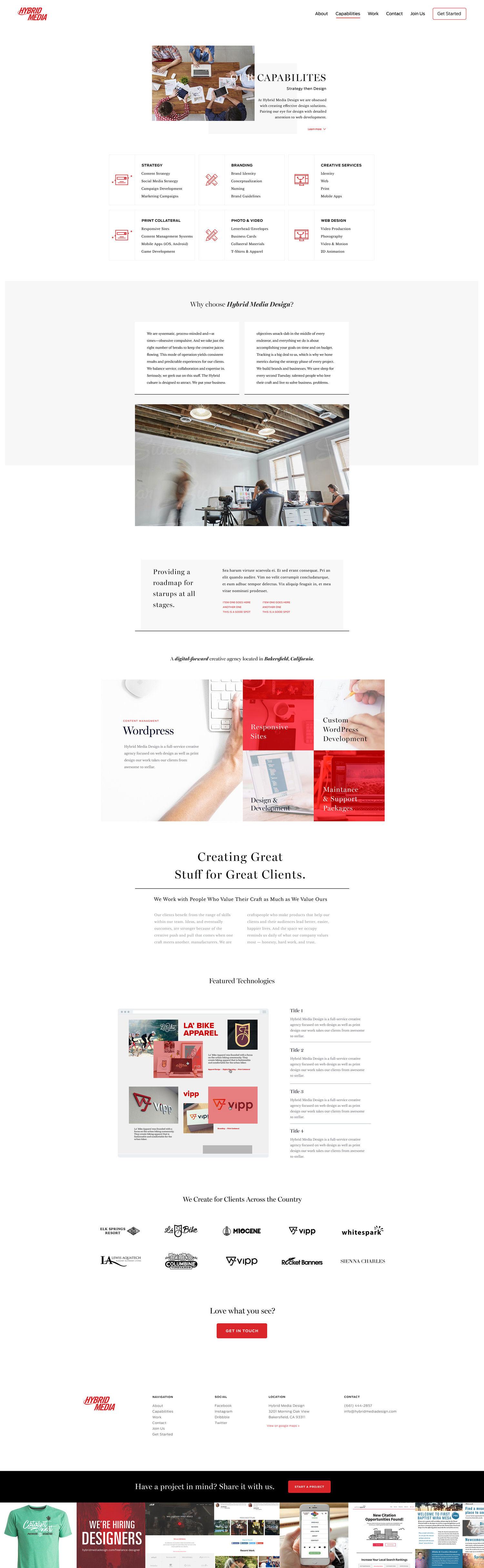 Web Design | Hybrid Media - Capabilities (Desktop View)