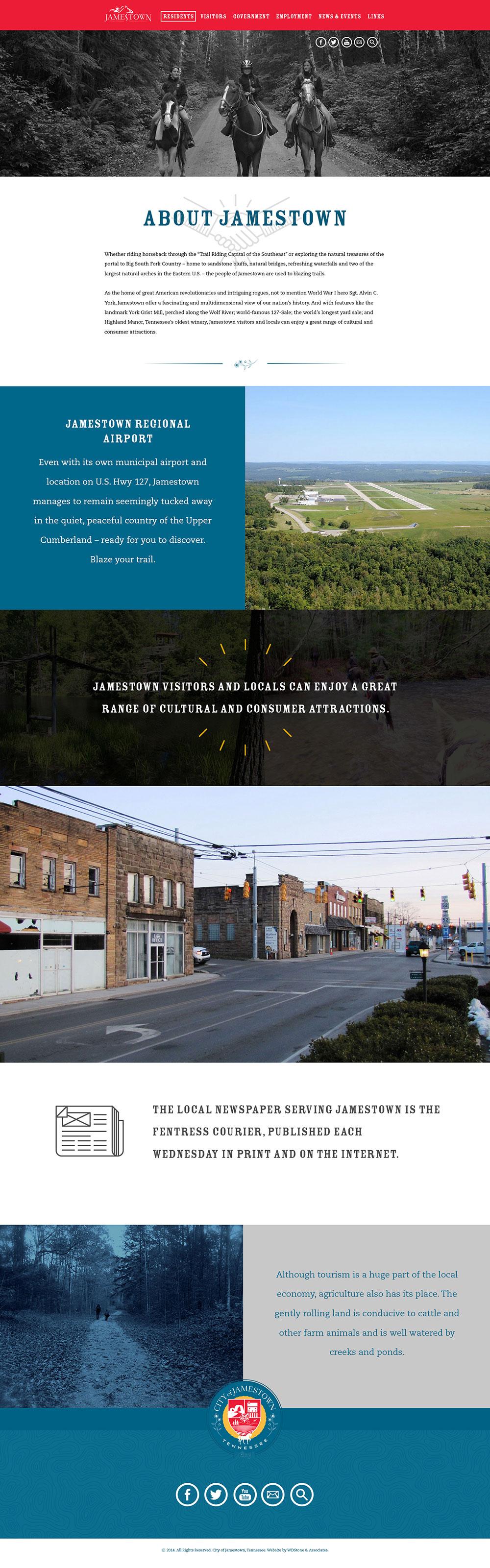 Web Design | Jamestown - Residents + About (Desktop View)