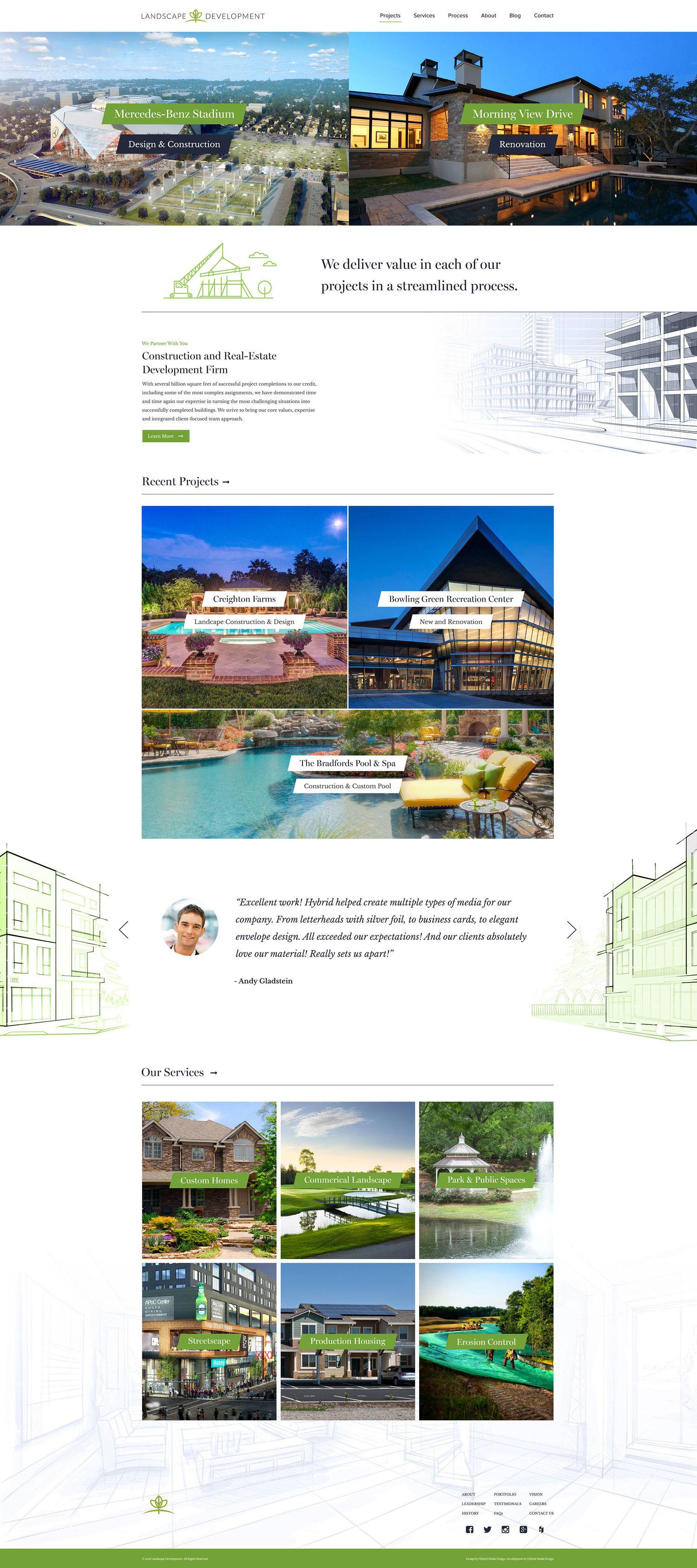 Web Design | Landscape Development - Homepage (Desktop View)