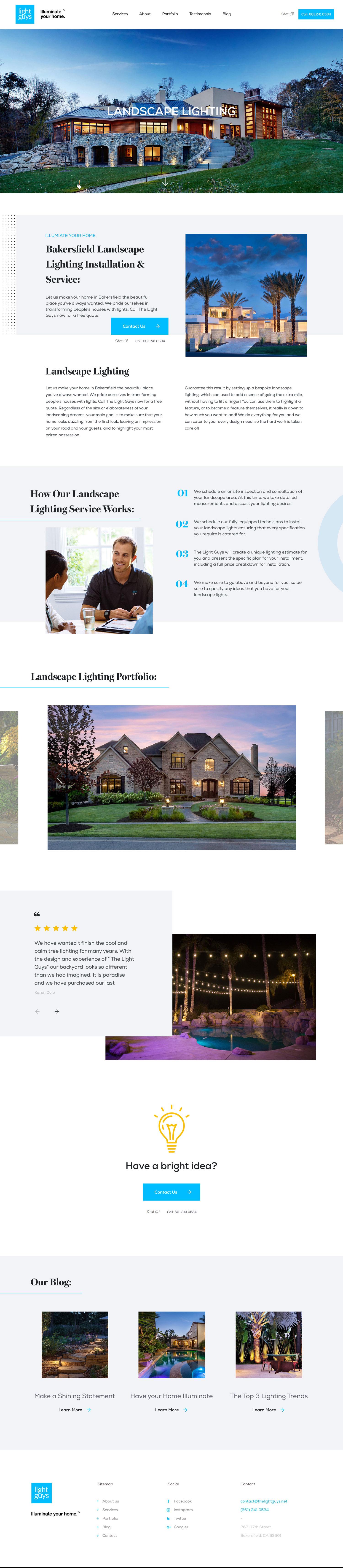 Web Design | Light Guys - Landscape + Lighting (Desktop View)
