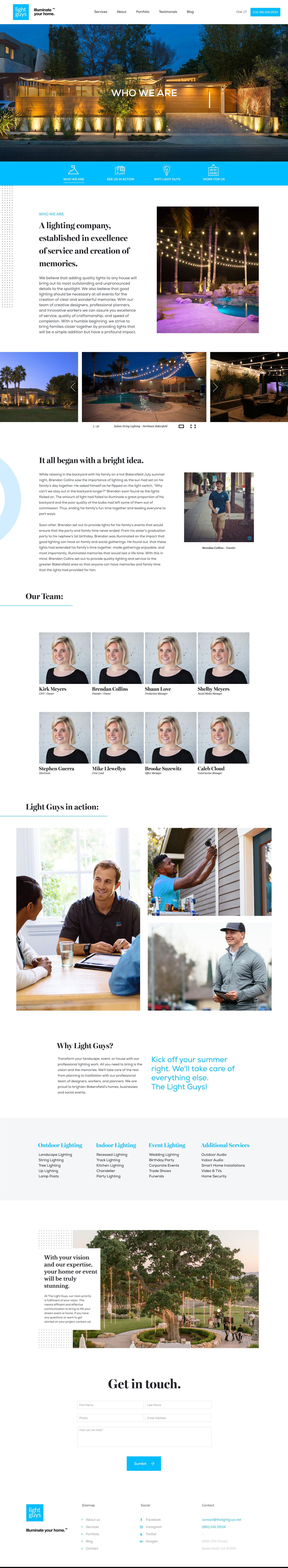 Web Design | Light Guys - About (Desktop View)