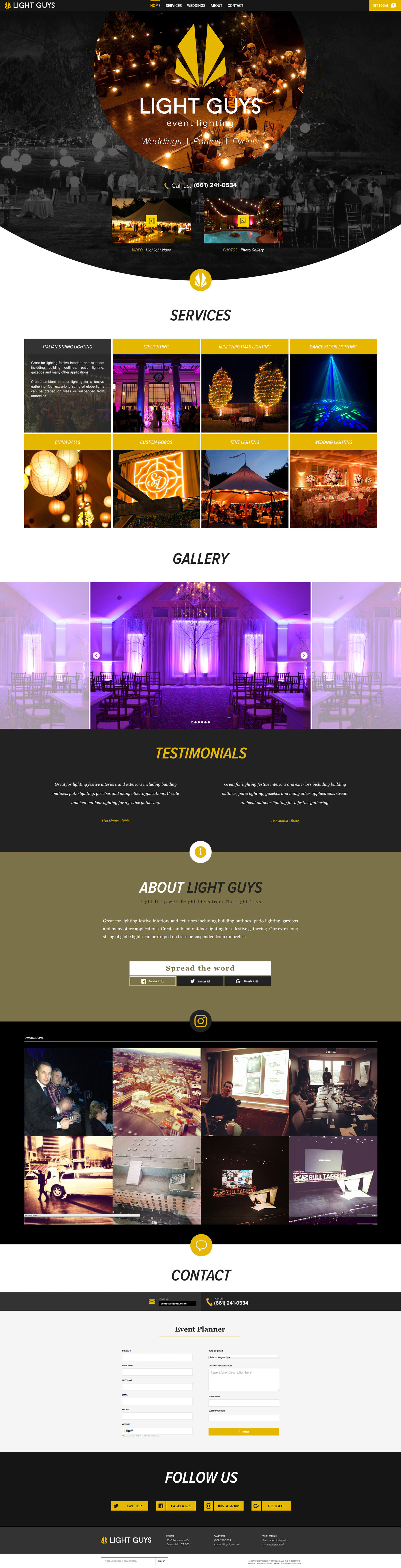 Web Design | Light Guys - Events Lighting (Desktop View)