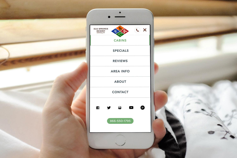 Web Design | Elk Springs Resort - Mobile Menu iPhone Mockup