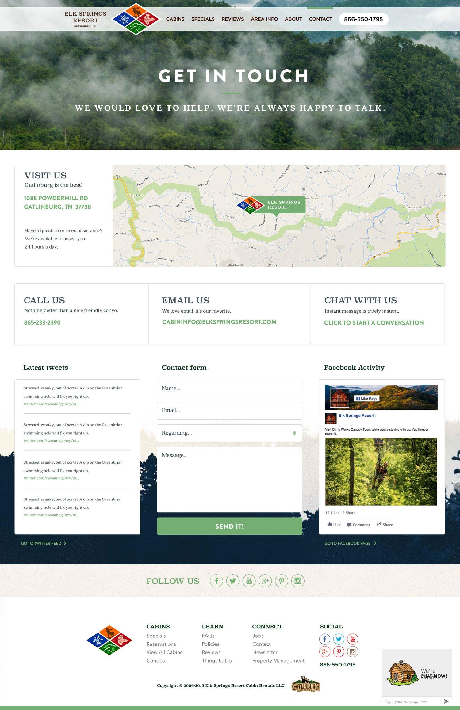 Web Design | Elk Springs Resort - Get In Touch (Desktop View)