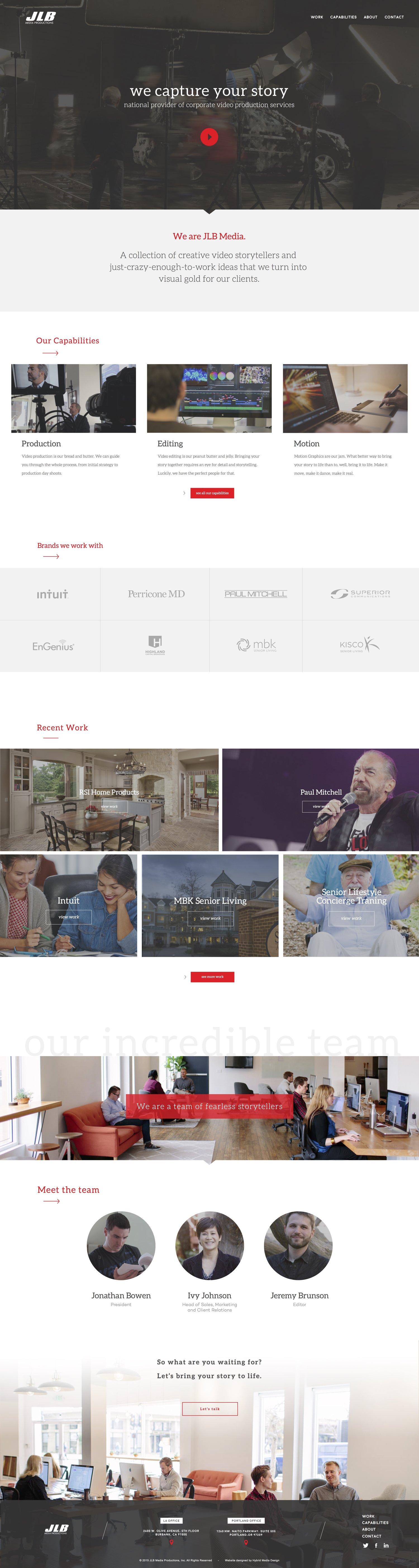 Web Design | JLB Media - Homepage (Desktop View)