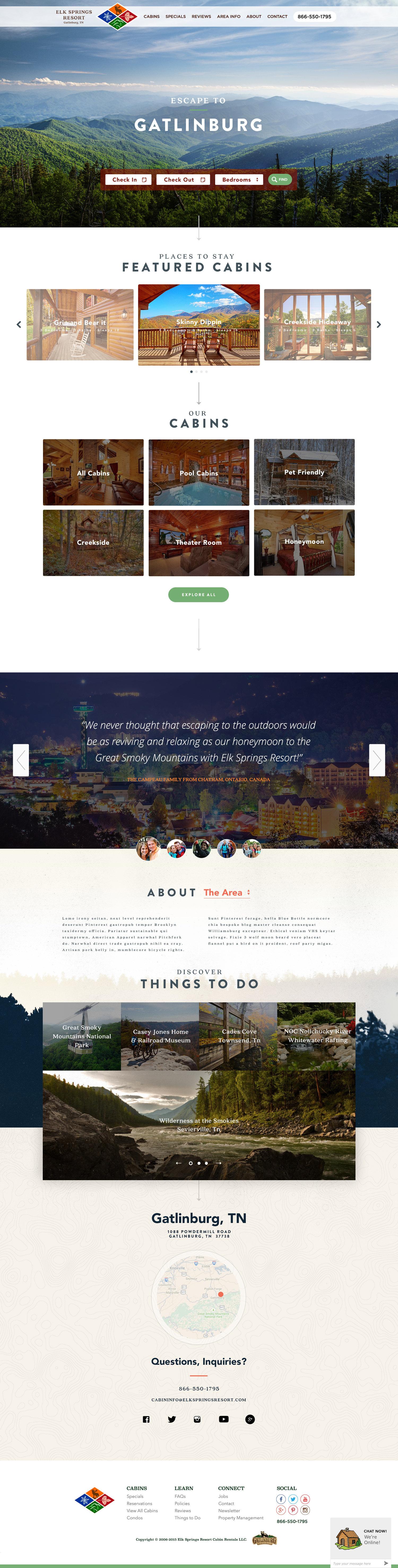 Web Design | Elk Springs Resort - Homepage (Desktop View)