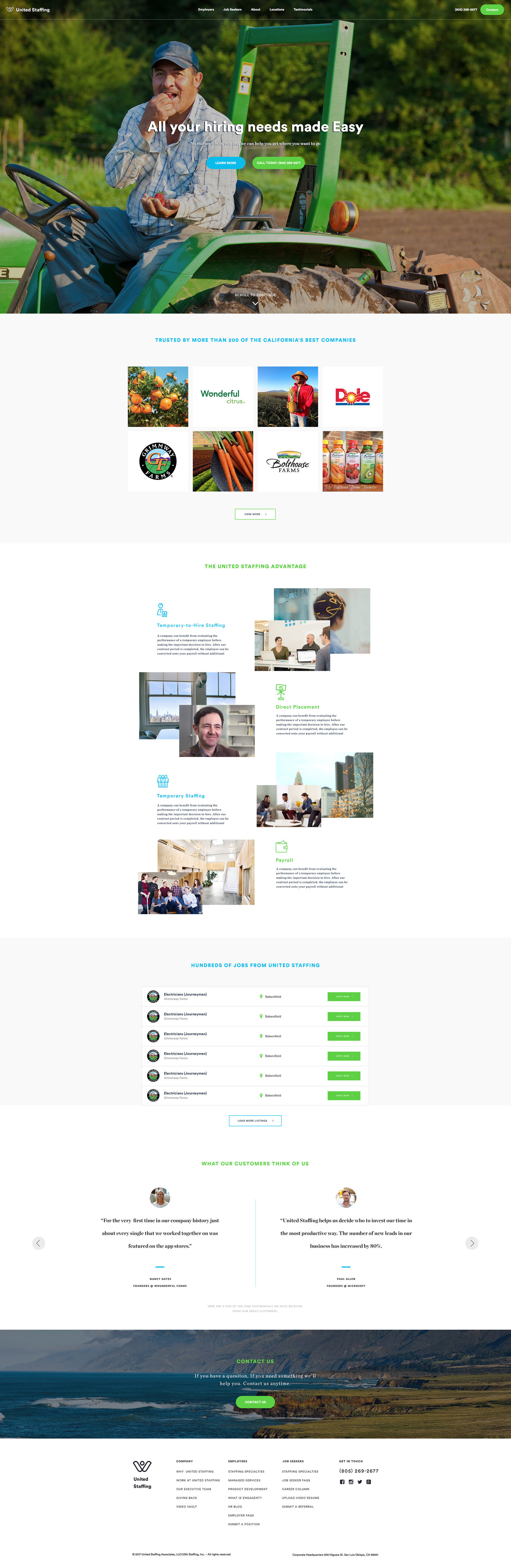 Web Design | United Staffing - Homepage (Desktop View)