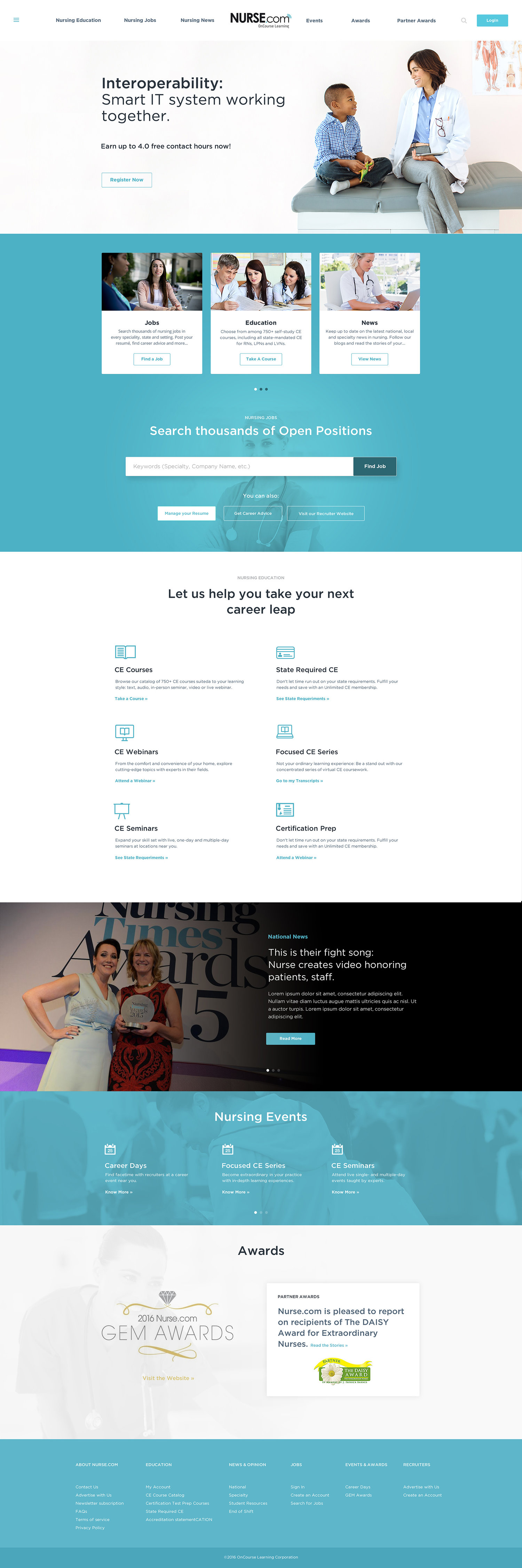 Web Design | Nurse.com - Homepage (Desktop View)