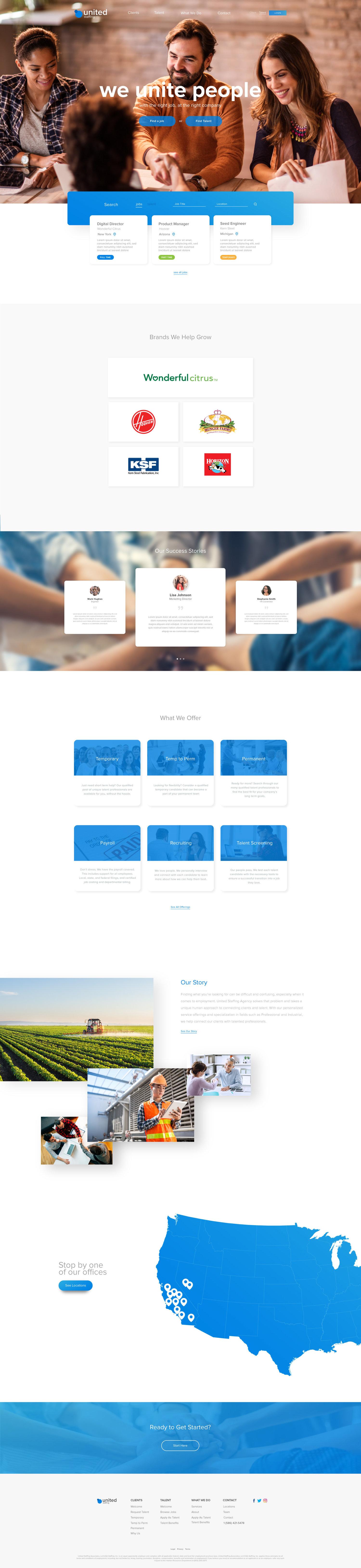 Web Design | United Staffing - Homepage | V1 (Desktop View)