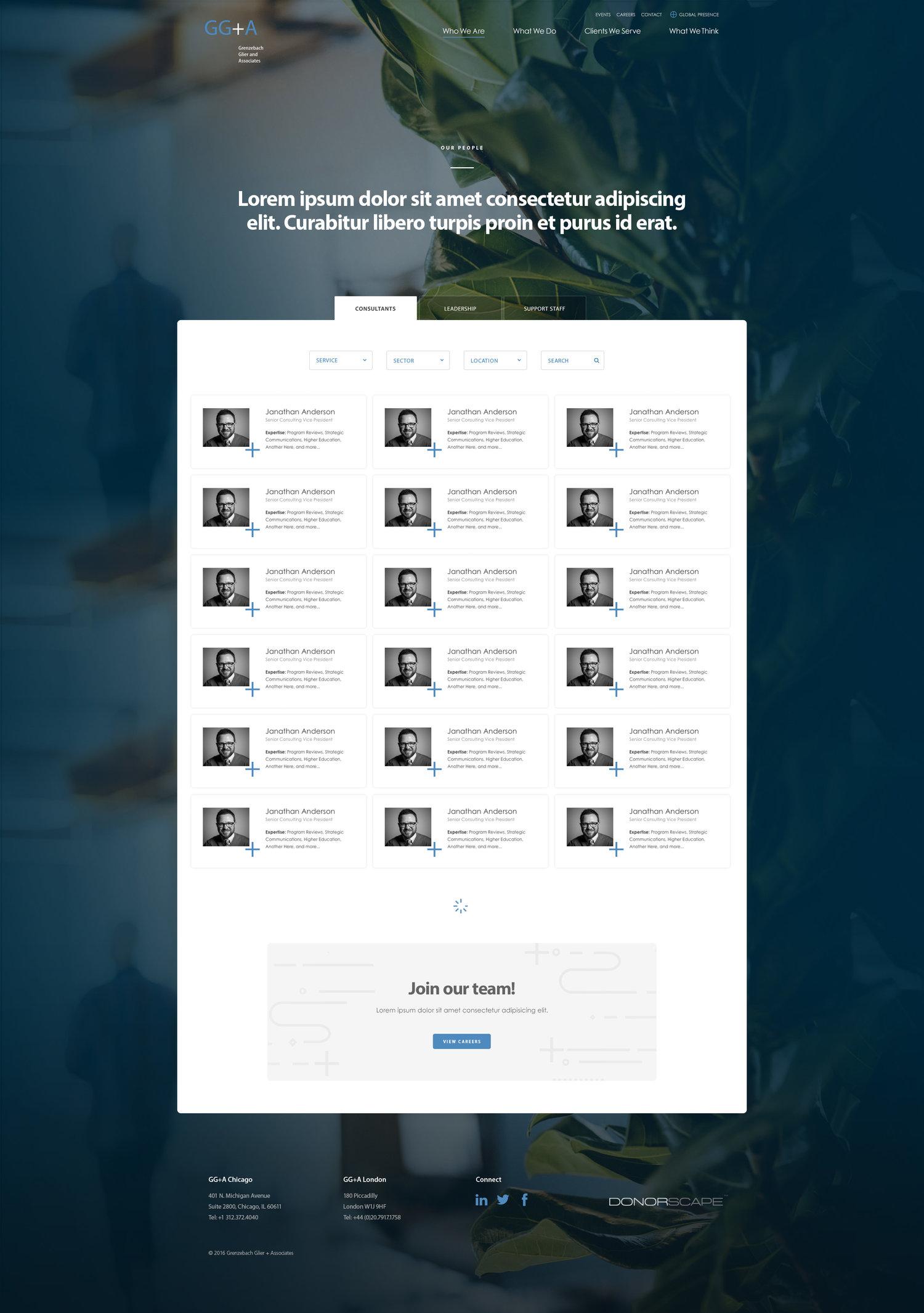 Web Design | GG+A - People (Desktop View)