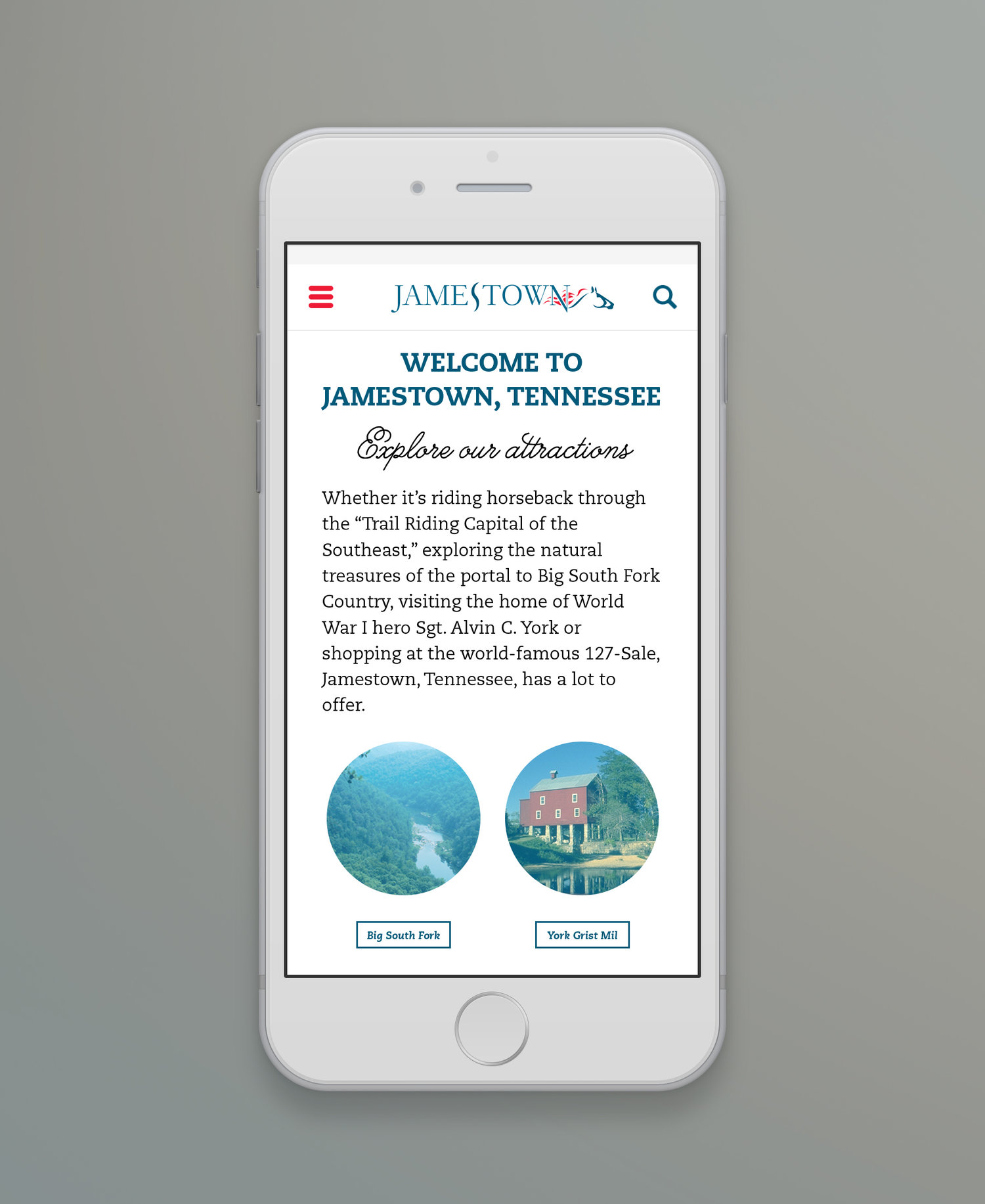 Web Design | Jamestown - Welcome to Jamestown, TN (Mobile View - iPhone Mockup)