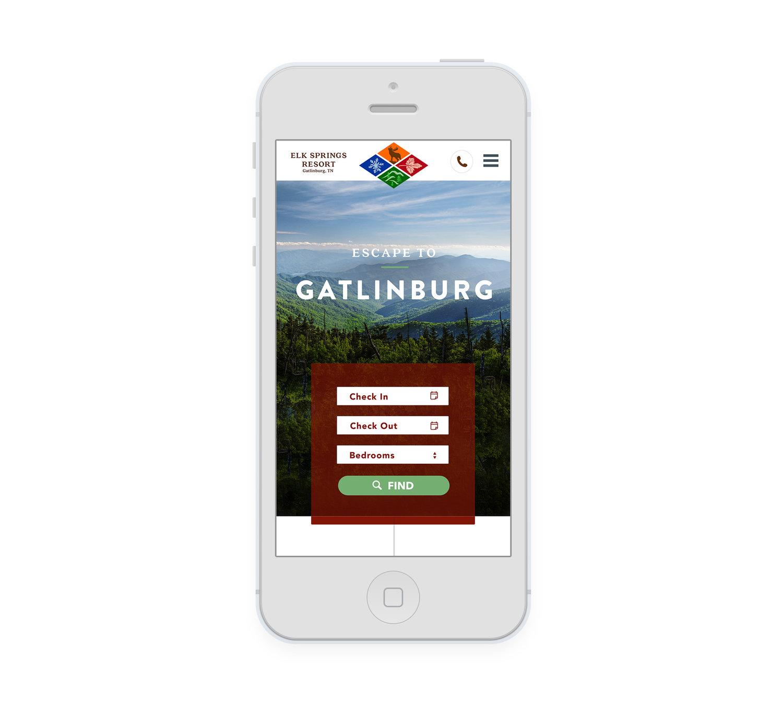Web Design | Elk Springs Resort - Mobile View iPhone Mockup