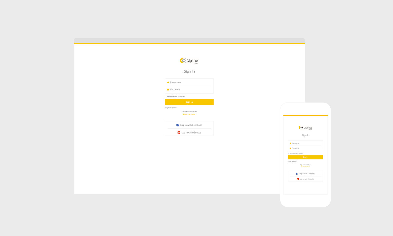Web Design | Diginius - Login Page (Responsive View)