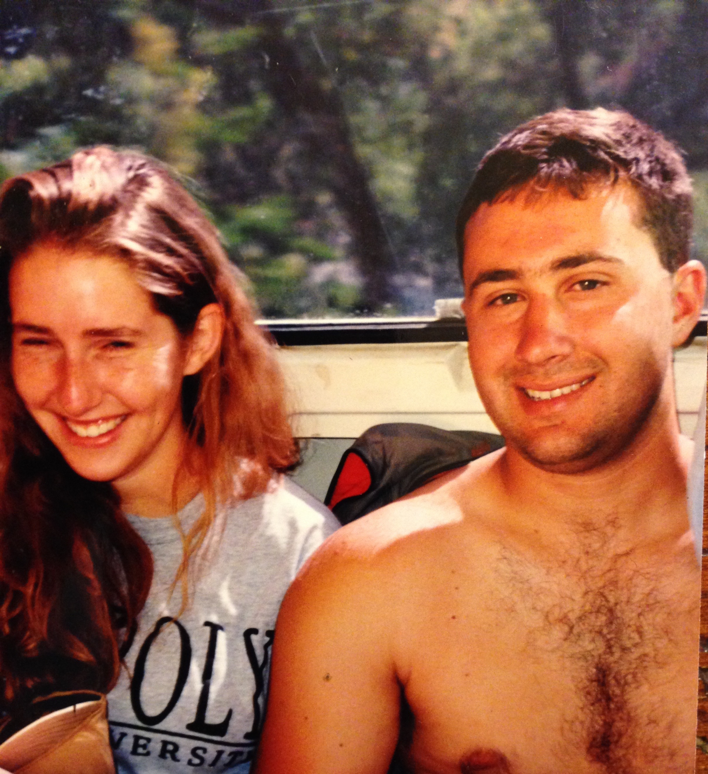 Melissa and Matt enjoying the outdoors on a river rafting trip in 1997