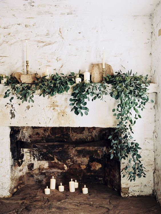 Mantels overflowing - with greens.