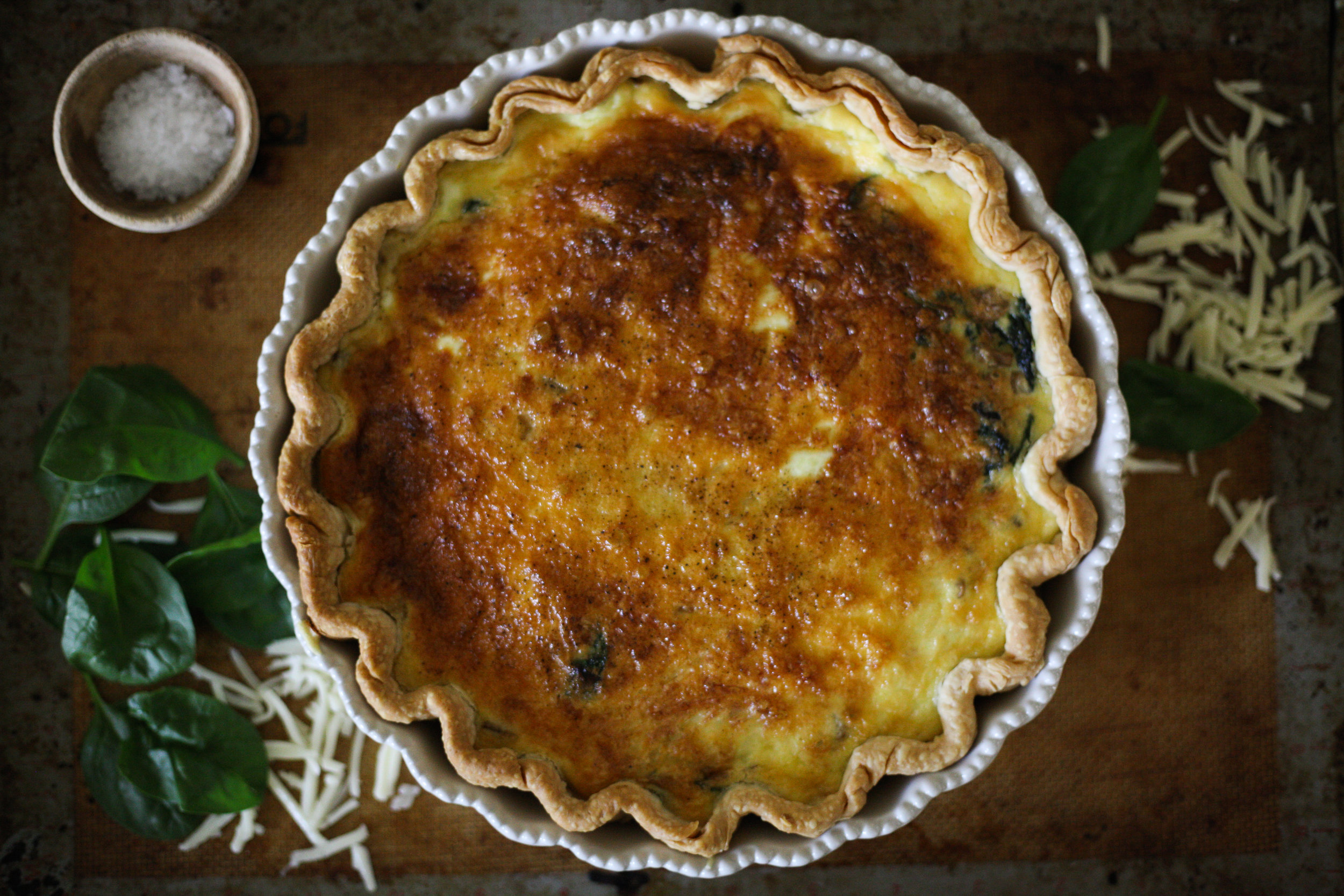 Magnolia Table Cookbook - Spinach, Mushroom, and Swiss Cheese Quiche