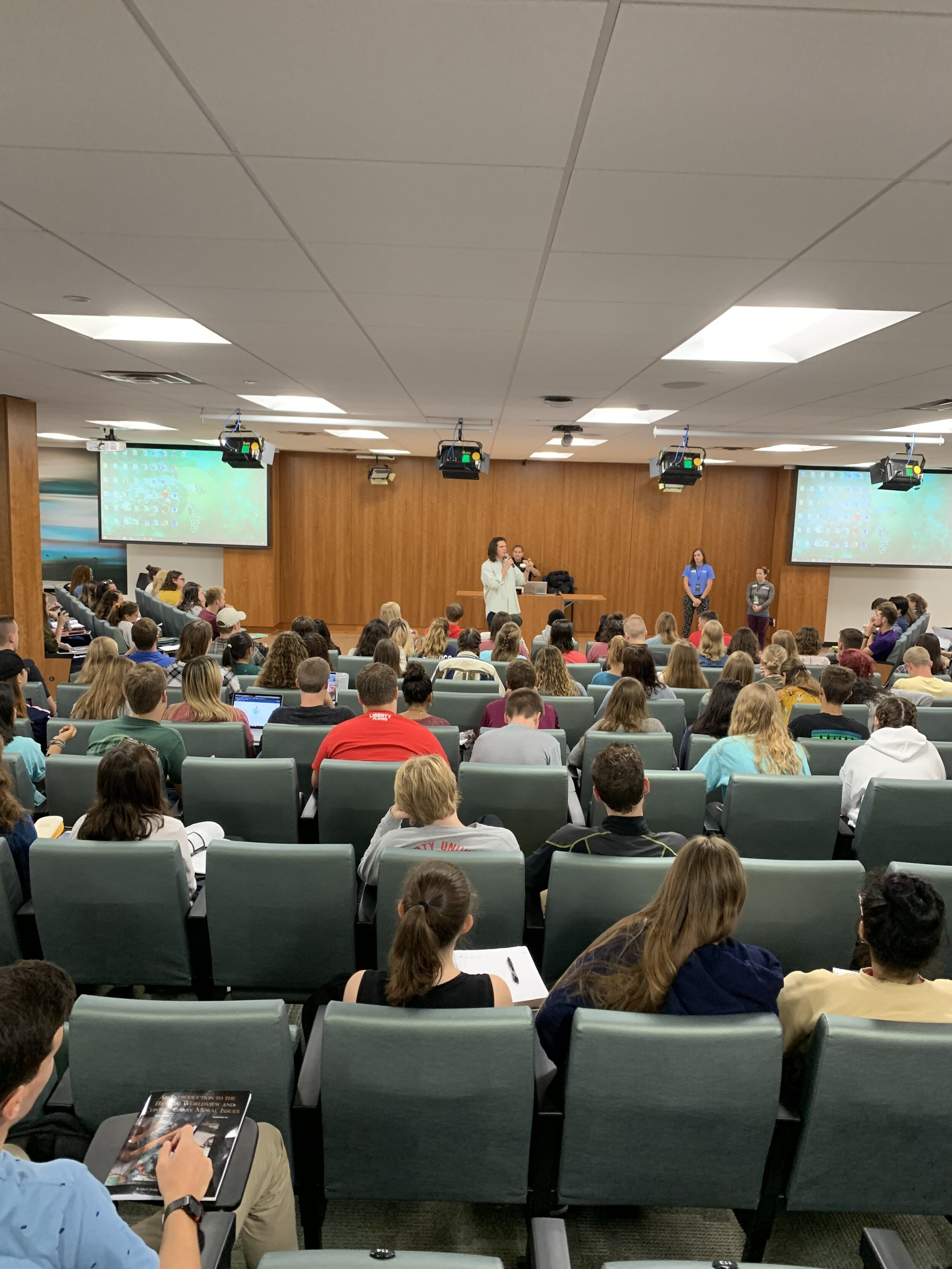 Sharing my heart and casting vision at Liberty University to a classroom of around 400 students.